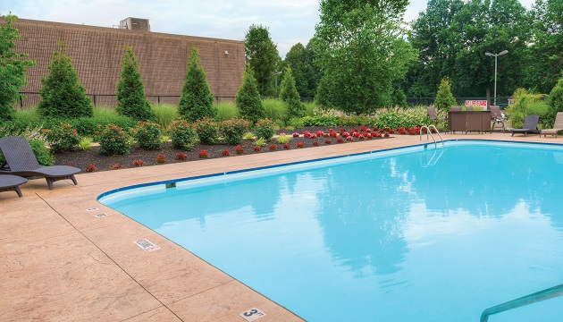 Outdoor pool with pretty landscaping