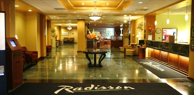 Elegant lobby and front desk at Piscataway hotel