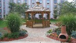 Outdoor gazebo in hotel patio space