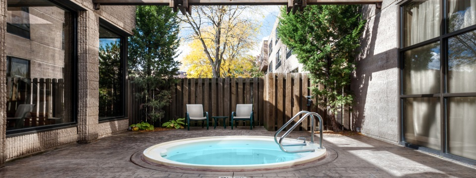Outdoor hot tub and seating
