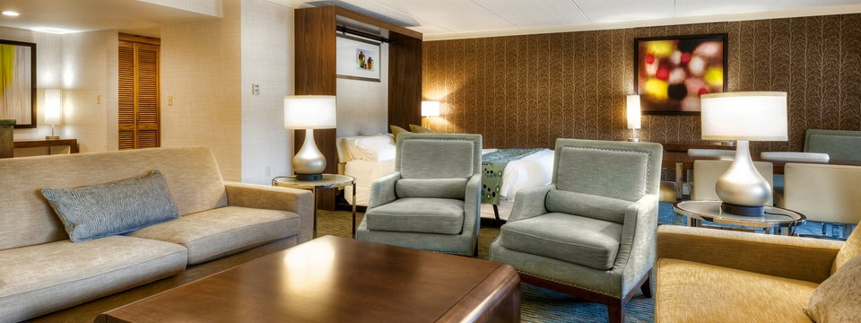 Hospitality Suite with sleeper sofa, three chairs and king bed