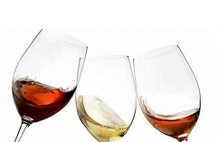 Three glasses of white and red wine