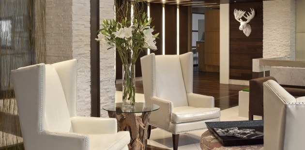 Inviting hotel lobby with armchairs