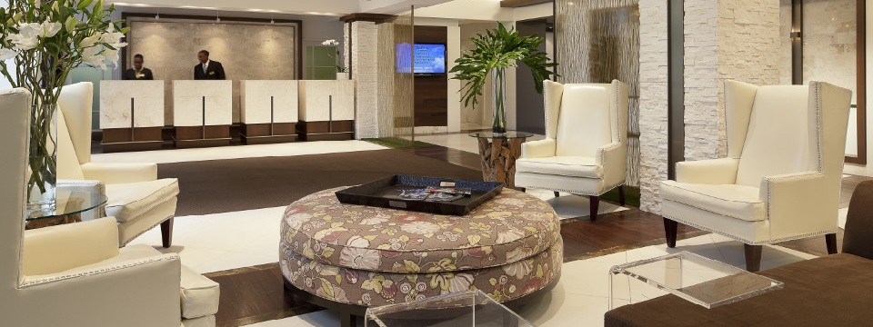 Hotel's modern lobby with seating area