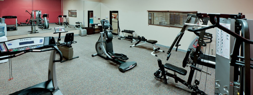 Fitness center with free weights and cardio equipment