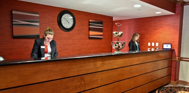 Front desk in hotel lobby