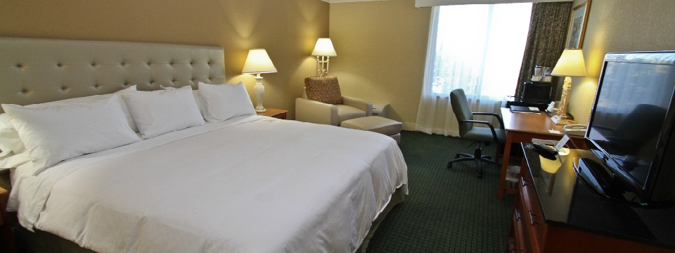 Rochester hotel room with a king bed, work desk and easy chair