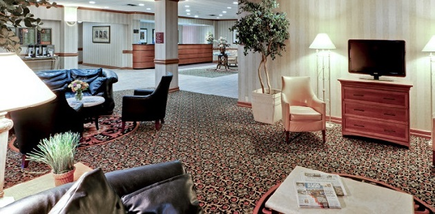 Lobby with comfortable sofas and chairs