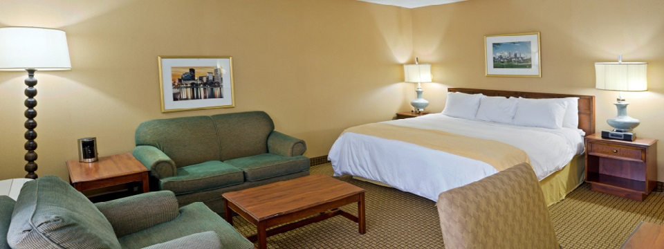 King bed and plush seating in guest room