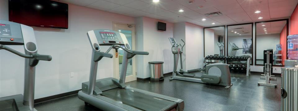 Fitness centre with cardio equipment and free weights