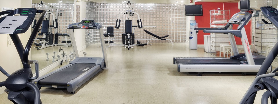 Fitness centre with treadmills, weight machines and flat-screen TV