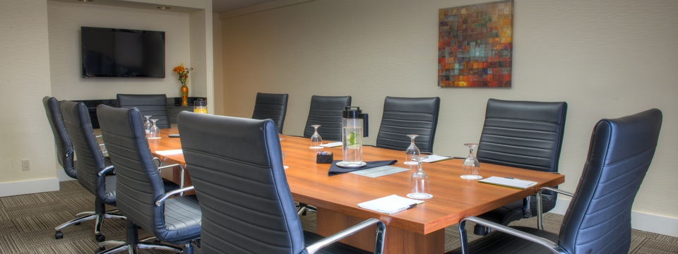 Boardroom with flat-screen wall-mounted TV