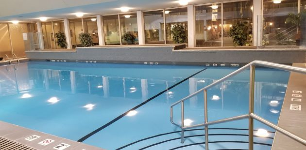 hotel indoor pool. Large Indoor Swimming Pool With Sparkling Blue Water Hotel