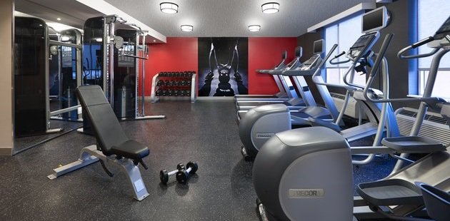 Fitness centre with ellipticals, treadmills and weights