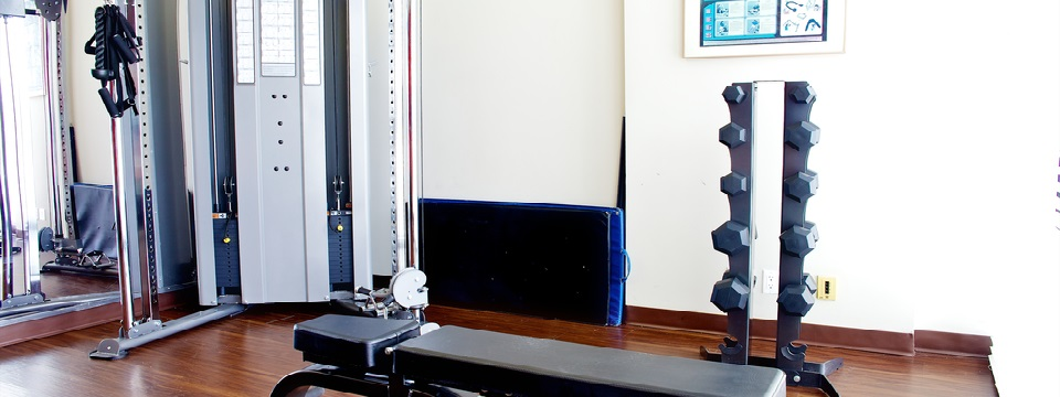 Fitness centre's weight bench and free weights