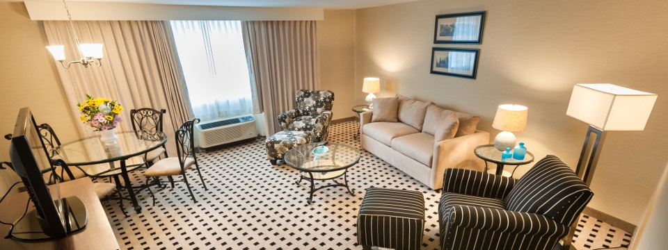 Suite's view of living and dining areas