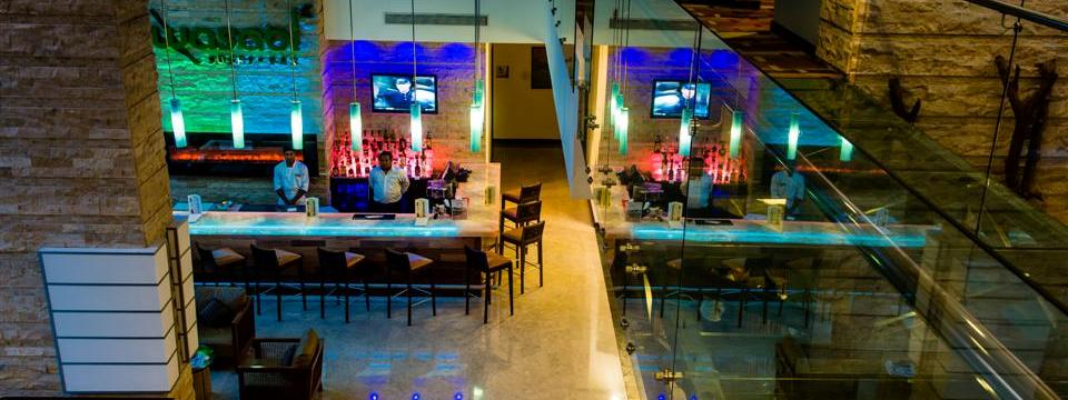 Lobby Bar with ample seating and mood lighting