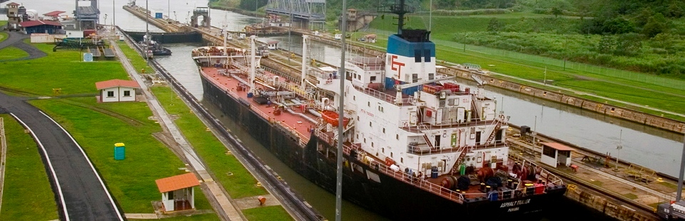 Large boat coming through the locks of the Panama Canal