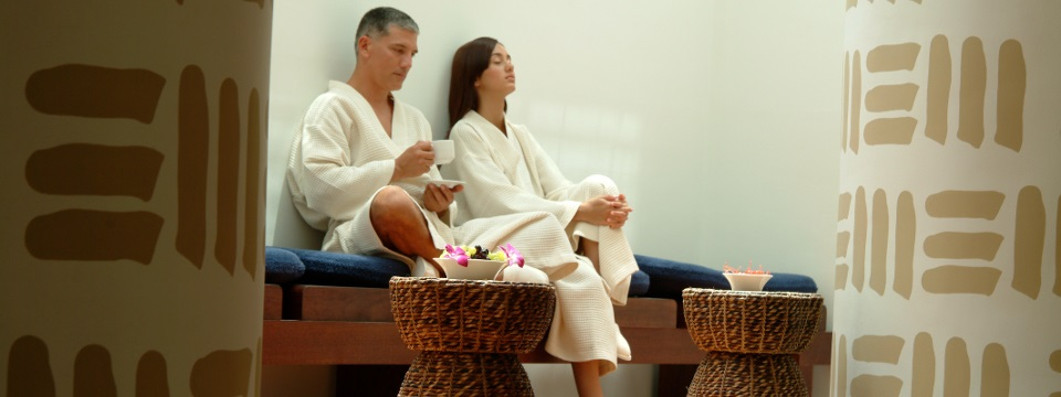 Couple in the Aqua Spa waiting area