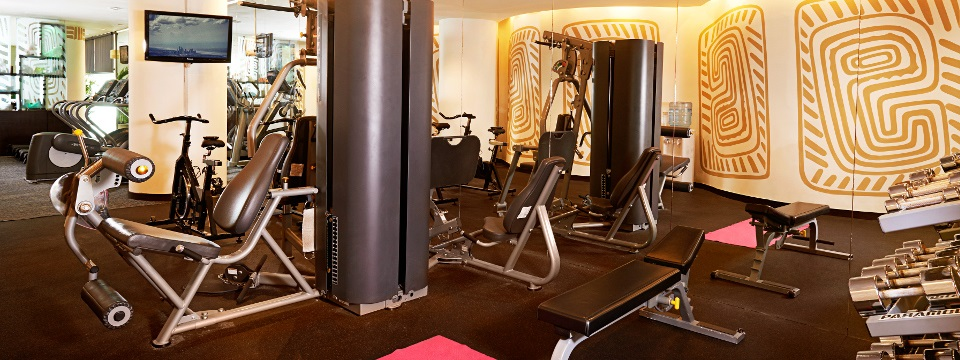 Exercise machines and free weights in the fitness center