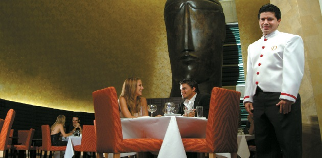 Hotel restaurant with couples dining