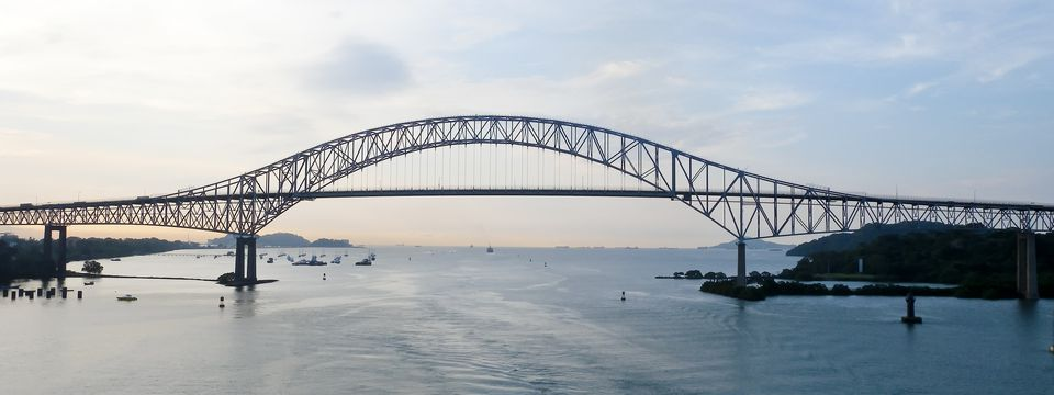 Side view of the Bridge of the Americas