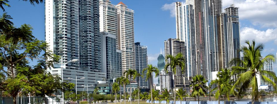 View of skyscrapers along the Cinta Costera in Panama City