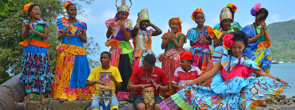 Panamanians performing traditional Congo dance
