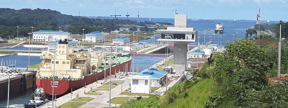Boats and buildings at the Panama Canal's Agua Clara Locks expansion