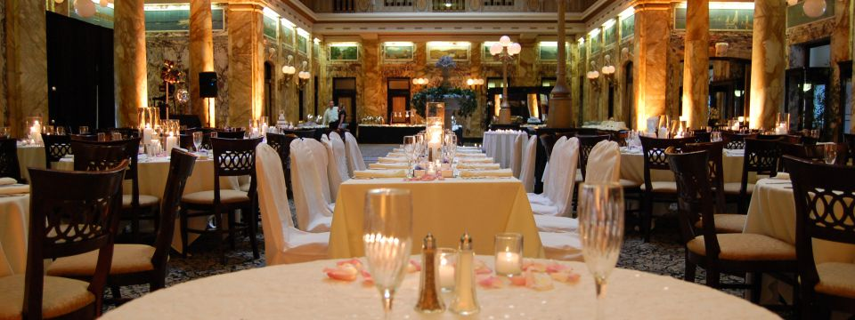 Wedding reception setup in historic event venue in Scranton