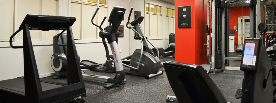 Hotel's fitness center with cardio equipment