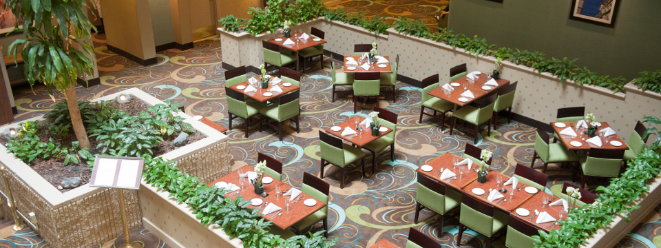 Aerial view of hotel's Atrium Bistro dining area