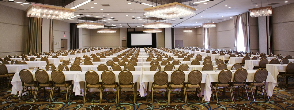 Hotel's Forest Ballroom set up with tables classroom style