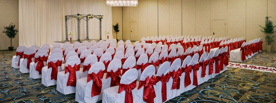 Wedding ceremony setup in the Oak and Sycamore meeting rooms