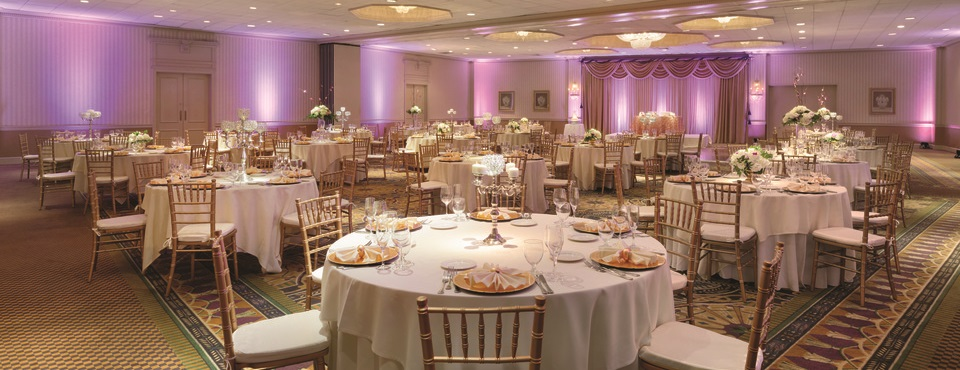 Elegant hotel ballroom set up for a wedding reception