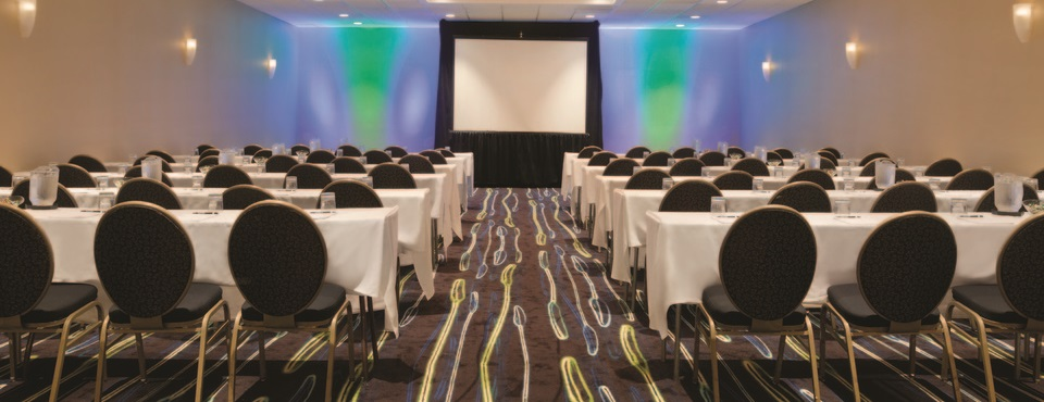 Laurel Ballroom set up classroom style with projector screen