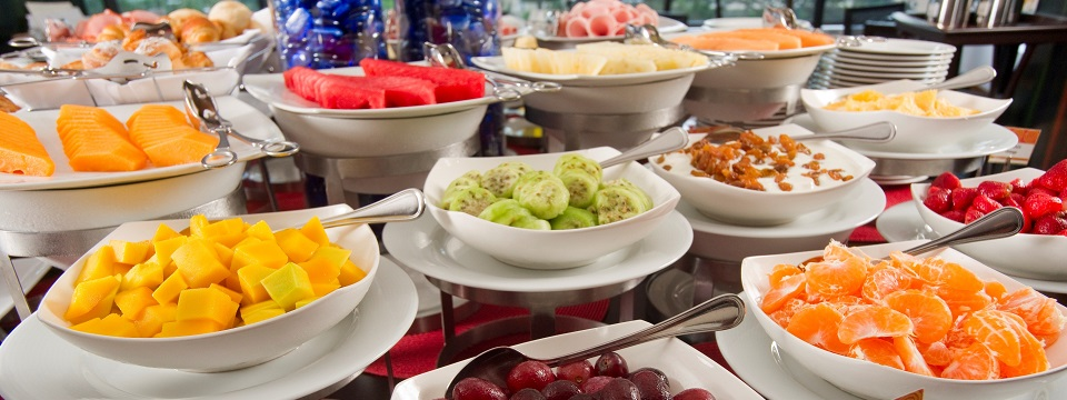 Breakfast buffet of local fruits at our Miraflores hotel
