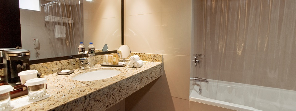 Granite countertop in a Miraflores hotel room