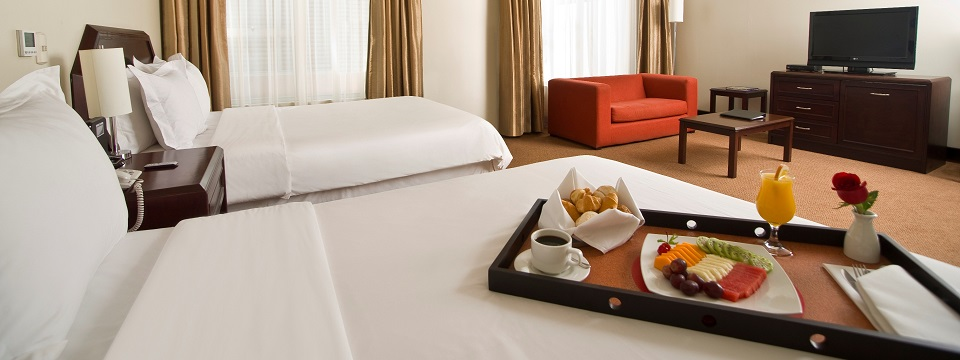 Two queen beds in a spacious Miraflores hotel suite
