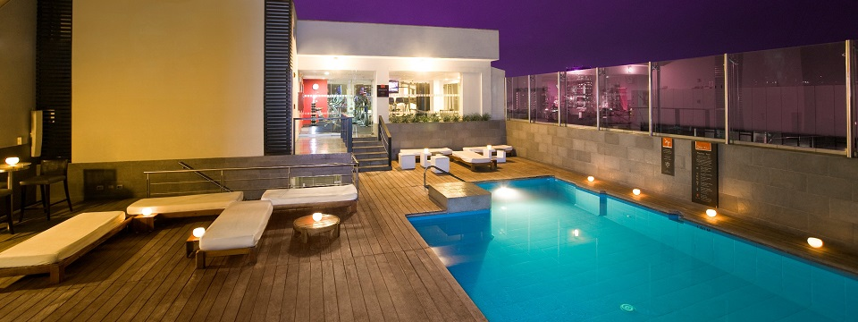 Poolside lounge area on our Miraflores hotel's rooftop