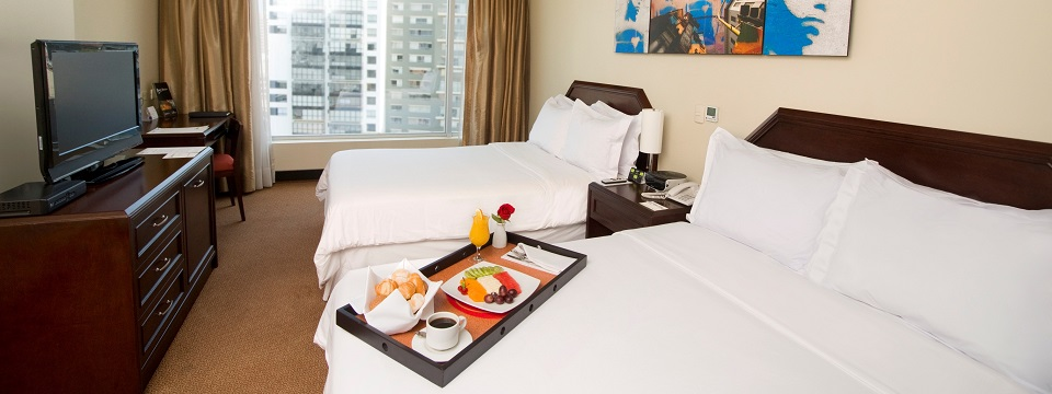 Breakfast in bed in a Superior Room at the Radisson in Lima