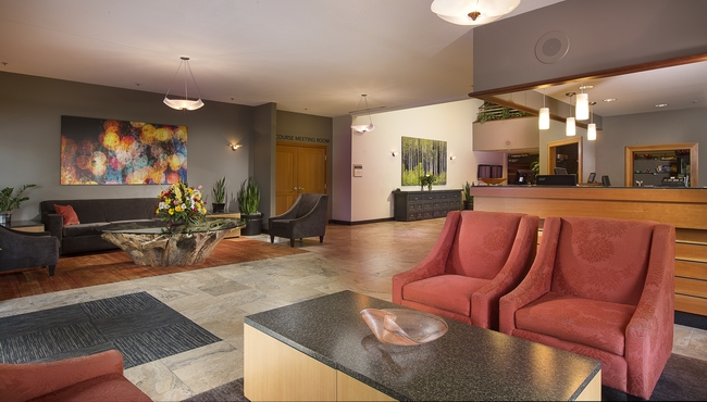 Spacious hotel lobby and front desk