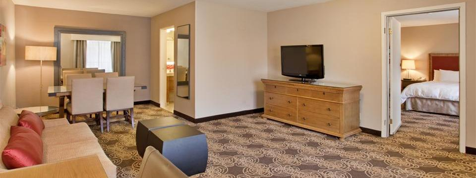 Spacious suite with living and dining areas