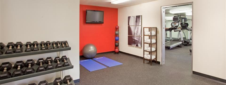 Fitness center with free weights, stability ball and fresh towels
