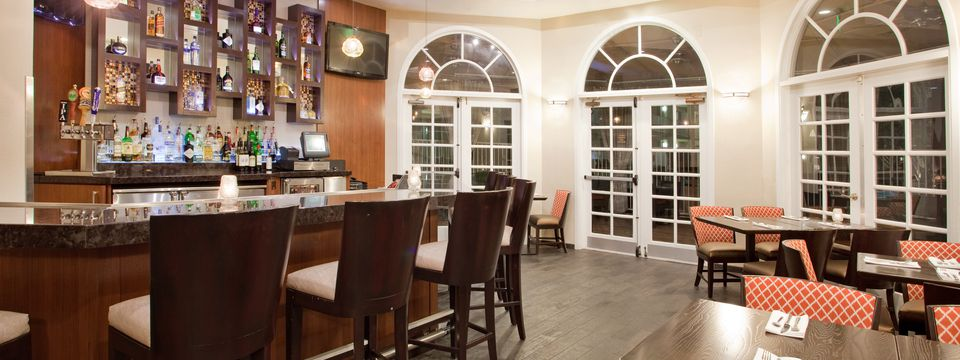 Restaurant and bar with arched windows