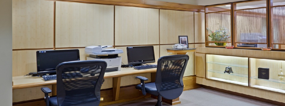 Business center with computers and a printer