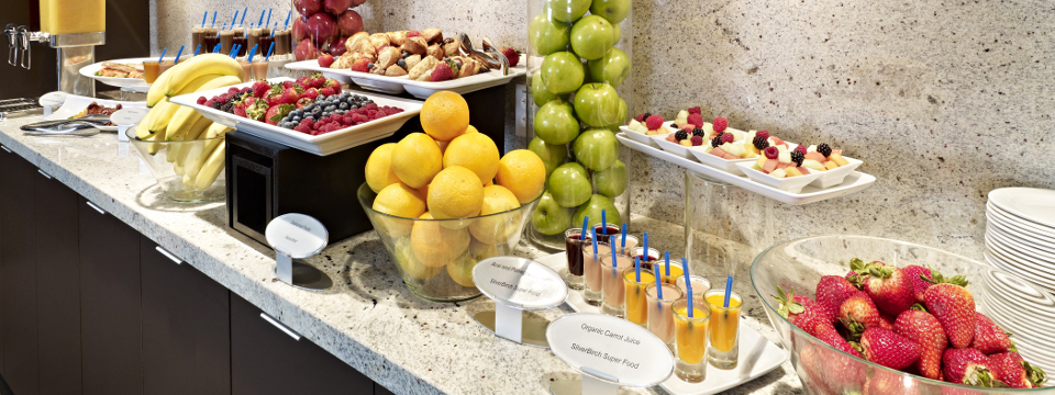 Buffet of fresh fruits and juices