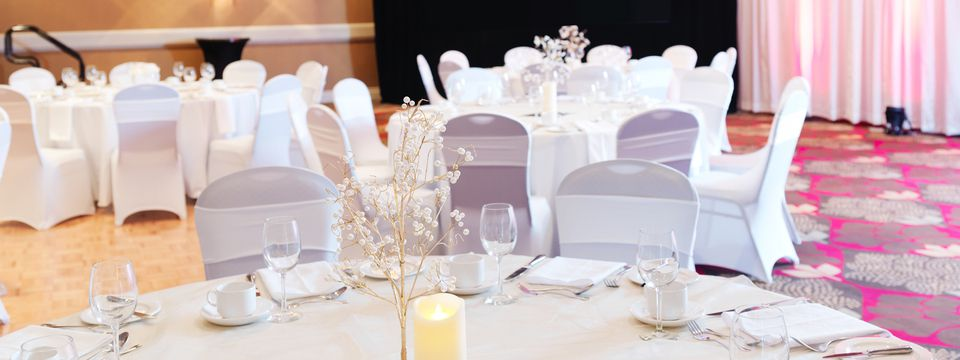 Wedding reception with delicate centerpieces
