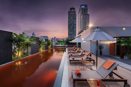 Rooftop pool with stunning views of Bangkok