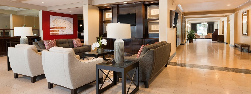Contemporary seating in hotel lobby with brown couches and white armchairs